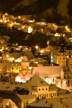 Winter landscape in Brasov. Winter Landscape, Nocturne, Romania, Around The Worlds, Mansions, Night, House Styles, Building, Travel