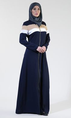 Front Open Everyday Zipper Navy Abaya/ Jilbab – EastEssence.com Islamic Fashion, Muslim Fashion, Modest Fashion, Abaya Fashion, Fashion Wear, Fashion Outfits, Sport Fashion, Modele Hijab, Abaya Designs