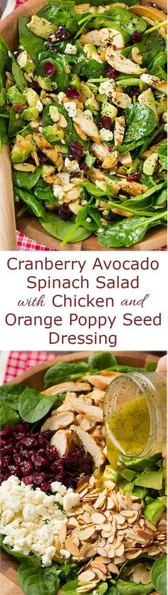 Cranberry Avocado Spinach Salad with Chicken and Orange Poppy Seed Dressing