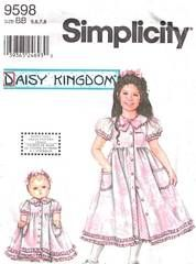 Simplicity 9598 Daisy Kingdom Girls and Doll Dress Pattern 5-8
