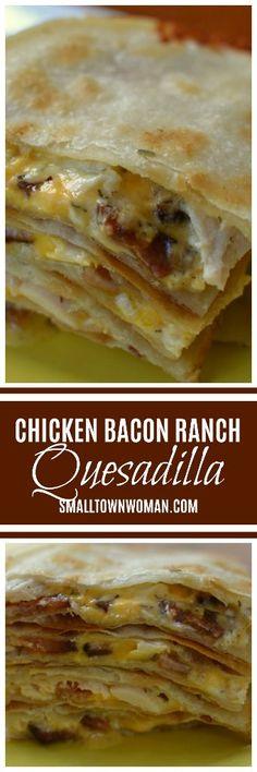 Chicken Bacon Ranch Quesadilla | Chicken Bacon Ranch Recipe | Quesadilla | Lunch | Tex Mex | Chicken Quesadilla | Bacon Ranch |  Bacon Quesadilla | Small Town Woman #quesadilla #chickenbaconranch #smalltownwoman via @bethpierce0151