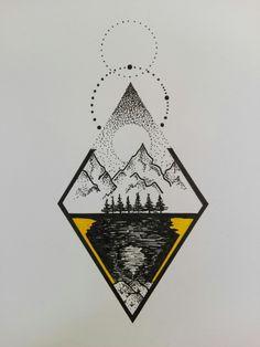 Nature Tattoos, Body Art Tattoos, Sleeve Tattoos, Tattoo Sketches, Tattoo Drawings, Art Sketches, Trippy Drawings, Cool Drawings, Black E White