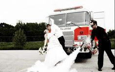 wonderful firefighter themed wedding photos
