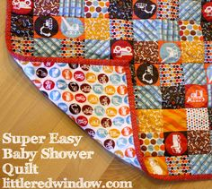 Super Easy Baby Shower Quilt Tutorial by Little Red Window