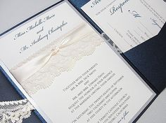 Lace Wrapped Wedding Invites - Interior with pocket detail. Probably really expensive, but they're perfect. So ignore that.