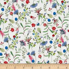 Liberty of London Tana Lawn Temptation Meadow Red/Blue/Green from @fabricdotcom  From the world famous Liberty Of London, this exquisite cotton lawn fabric is finely woven, silky, very lightweight and ultra soft. This gorgeous fabric is oh so perfect for flirty blouses, dresses, lingerie, even quilting. Colors include white, charcoal, shades of blue and pink, red, neon yellow, purple and shades of green.