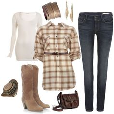 love the browns and whites together with the boots & dark jeans