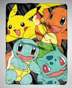 NEW Pokemon Nintendo Pikachu Charmander Squirtle Bulbasaur Blanket Throw 46x60