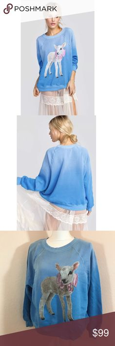 Wildfox NWT Lamb Top RARE ▪️Details: Wildfox Blue Super Soft Long Sleeve Sweater Sweatshirt with a Lamb and Bow  ▪️Size: XS 📍Ships from Los Angeles, CA  📪 Ships within 1-2 business days  #183A Wildfox Tops Sweatshirts & Hoodies
