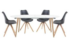 Espen Extending Oval Table 140/220cm and 4 Dining Chairs
