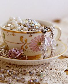 beads and vintage china