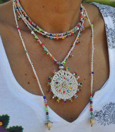 White TRIBAL MANDALA crochet NECKLACE boho necklace beaded crochet necklace ethnic jewelry hippie style colorful gipsy mandala - Beyaz TRIBAL MANDALA tığ işi KOLYE boho kolye boncuklu tığ kolye etnik takılar hippi tarzı re - Ethnic Jewelry, Boho Jewelry, Jewelry Crafts, Beaded Jewelry, Handmade Jewelry, Beaded Bracelet, Rosary Bracelet, Punk Jewelry, Skull Jewelry
