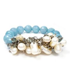 Another great find on #zulily! Pearl & Blue Agate Stretch Bracelet #zulilyfinds