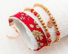 Liberty Rose Gold Bracelet Trio- Capel Red