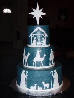 """Love what this pinner said """"I saw the design by hbarberycakes several weeks ago and fell in love, so I volunteered to make this cake for my church Christmas party. I used a (new) toothbrush to splatter silver pearl dust (mixed with clear vanilla) all over to give it a starry look. I cut all the silhouettes out of fondant. I am so proud to have made something so beautiful that helps us remember what this wonderful season is all about. I am forever grateful for my Savior!"""""""