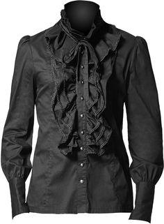 Black gothic ruffle shirt by Punk Rave