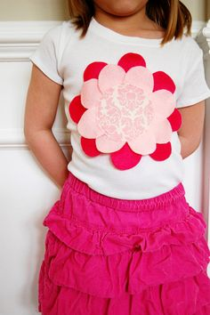 DIY felt flower petal shirt