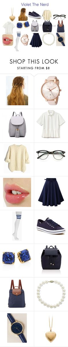 """""""Violet The Nerd"""" by hannkiss on Polyvore featuring WithChic, Ted Baker, Lacoste, Boohoo, Keds, Kate Spade, Barneys New York, Longchamp, Lord & Taylor and Francesca's"""