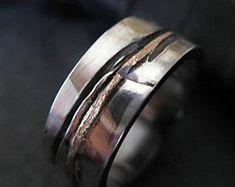 Mens Wedding Band Mens Wedding Ring Oxidized Ring Black Gold Ring Rustic Ring Unique Wedding Band Viking Wedding Ring Mens Wedding Bands