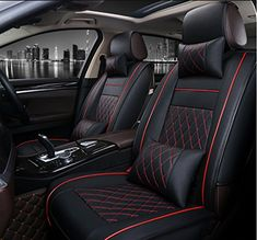 ANKIV Black Full Set Universal Fit 5 Seats Car 3D Surrounded Luxury Waterproof Pu Leather and Breathable Artificial Silk Car Seat Covers Trims with Fixed Lumbar Pillows for Sedan SUV