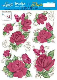 ANITAS FOILED DECOUPAGE RED ROSE FOR CARDS /& CRAFTS
