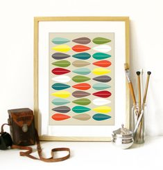 SALE Cathrineholm Poster Mid Century style with by PeanutoakPrint