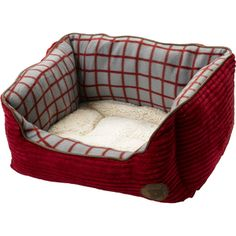 Petface Red Cord Window Pane Check Square Dog Bed (Various Sizes)