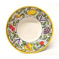 "Frutta Deruta Mista 9.5"" Serving Bowl with cherries, grapes, a lemon, and a pomegranate."