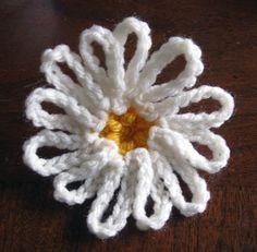 crochet daisy motif back view