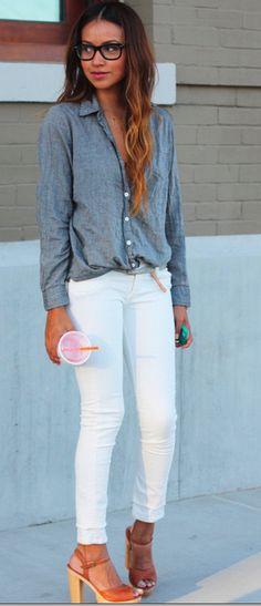 demin shirt w white pants