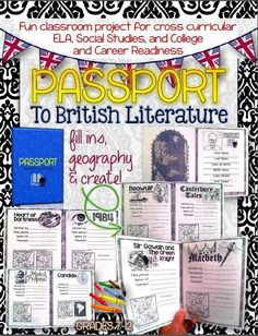 Passport to British Literature: Grades 7-12. Fun classroom project for cross curricular ELA, Social Studies, and College and Career Readiness ($)