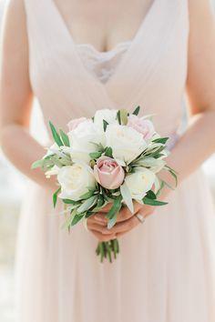 Pink and cream rose bouquet: Photography: Anna Roussos - Photographer - annaroussos.com   Read More on SMP: http://www.stylemepretty.com/2016/07/22/mykonos-island-greece-destination-wedding/
