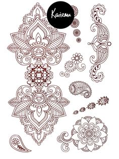 Classic Indian Henna Temporary Tattoo Gold Silver by KARIZMAlondon