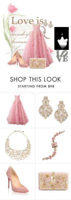 """Puppy Love💘"" by aharcaki ❤ liked on Polyvore featuring Zuhair Murad, Kate Spade, Marchesa, Christian Louboutin and Dolce&Gabbana"