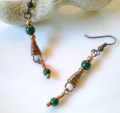 Malachite and Copper Wire Wrap Triangle Earrings Malachite Dangles