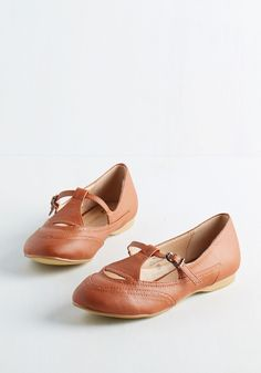 Prep to be Presh Flat in Chestnut. Ready or not, here come these adorable flats, and you can't hide from their cuteness! #tan #modcloth