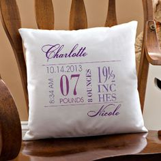 Personalized birth pillow with photo baby birth baby bedding personalized birth announcement pillow 14 pink personalized baby giftspersonalized negle Image collections