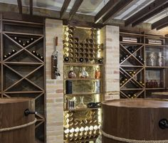 Wine cellar in luxury villa interior with wine casks.
