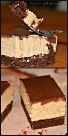 PEANUT BUTTER CHEESECAKE BROWNIE BARS WITH GANACHE - Hugs and Cookies XOXO