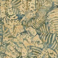 Beige and Teal Fossil Leaves Island Batik 1/2 yd