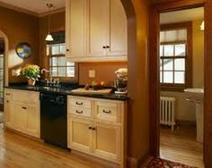eye-pleasing paint colors for kitchens with oak cabinets | brown