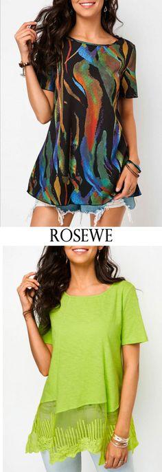 Printed Round Neck Short Sleeve T Shirt.#Rosewe#tshirt#womensfashion