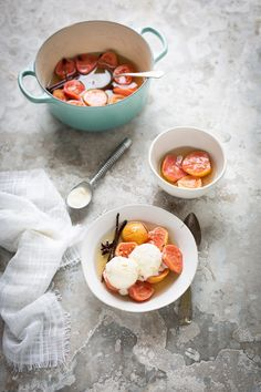 Guavas poached in a chamomile syrup with vanilla & cinnamon recipe #poached #recipe #fruit #guava