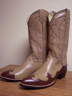 Dan Post 8.5D brown wingtip men's cowboy boots with box #DanPost  #CowboyWestern