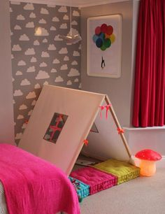 Grey and white neon and bright children's room design by Bobby Rabbit. The post Makeover Tour: A Colorful and Quirky Big Girl Room Bedroom Makeover appeared first on Children's Room. Ideas Habitaciones, Deco Kids, Diy Tent, Big Girl Rooms, Kids Rooms, Kid Spaces, Kids Decor, Decor Ideas, Girls Bedroom