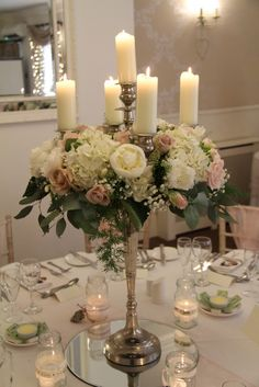 Blush Pink and Ivory Baroque Candelabra table centrepieces Candelabra Wedding Centerpieces, Candelabra Flowers, Wedding Decorations, Table Decorations, Wedding Pins, Wedding Flowers, Blush Roses, Blush Pink, Candle Art