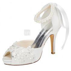 25.00  Mujer Zapatos Satén Elástico Primavera Verano Tacones Tacón  Stiletto Plataforma Punta abierta Cristal Perla para Boda Fiesta y Noche 510d65ba5681