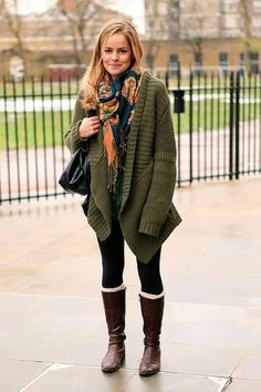 slouchy with a scarf and socks peeking out of the boots