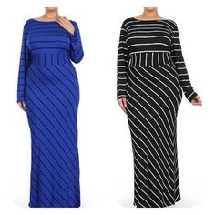 New Plus Size Blue And Black Striped Bodycon Maxi Dress Size 1X #Fabulouslydressedboutique #StretchBodycon