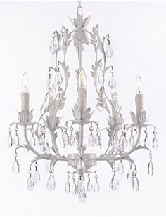 WHITE WROUGHT IRON FLORAL CHANDELIER LIGHTING CRYSTAL CHANDELIERS Gallery http://smile.amazon.com/dp/B013BOZO8E/ref=cm_sw_r_pi_dp_jr8Xwb1R1XA3C